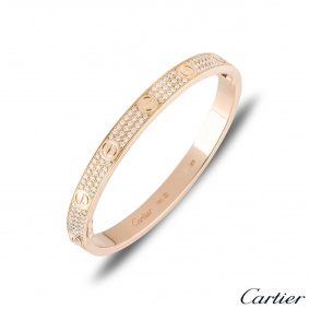 Cartier Rose Gold Full Pave Diamond Love Bracelet Size 18 N6036918